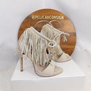 Zara suede fringe ankle heels